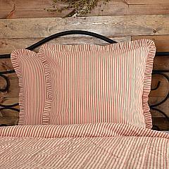 Sawyer Mill Red Ticking Stripe Fabric Euro Sham 26x26