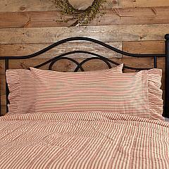 Sawyer Mill Red Ticking Stripe Ruffled King Pillow Case Set of 2 21x40