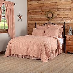 Sawyer Mill Red Ticking Stripe Queen Quilt Coverlet 90Wx90L