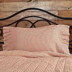 Sawyer Mill Red Ticking Stripe Ruffled Standard Pillow Case Set of 2 21x30