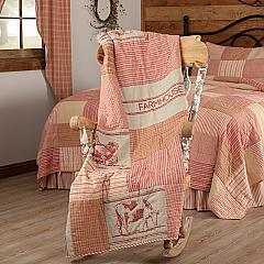Sawyer Mill Red Farm Animal Quilted Throw 60x50