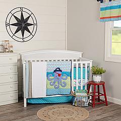 Sea Pirate Crib Set (Includes: Crib Quilt, Crib Sheet, Dust Ruffle, Bumper, Valance)