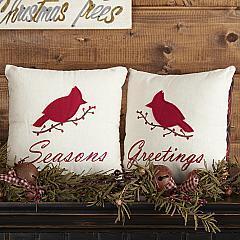 Seasons Greetings Pillow Set of 2 10x10