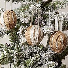 Shimmer Burlap Creme and Natural Ornament Set of 6