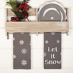 Snowflake Burlap Grey Let It Snow Tea Towel Set of 2 19x28