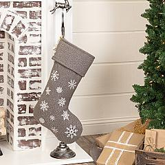 Snowflake Burlap Grey Stocking 12x20