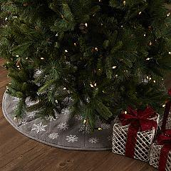 Snowflake Burlap Grey Tree Skirt 48