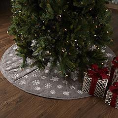 Snowflake Burlap Grey Tree Skirt 60