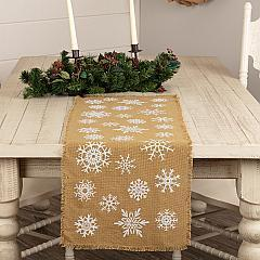 Snowflake Burlap Natural Runner 13x36