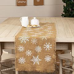 Snowflake Burlap Natural Runner 13x48