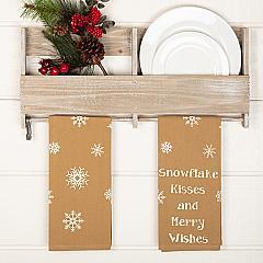 Snowflake Burlap Natural Snowflake Kisses Tea Towel Set of 2 19x28