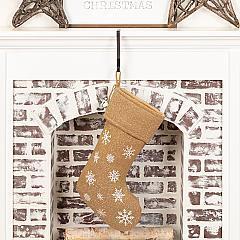 Snowflake Burlap Natural Stocking 12x20