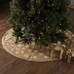 Snowflake Burlap Natural Tree Skirt 60