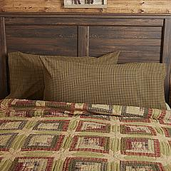 Tea Cabin Green Plaid King Pillow Case Set of 2 21x40