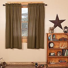 Tea Cabin Green Plaid Short Panel Set of 2 63x36