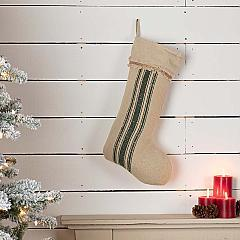 Vintage Burlap Stripe Green Stocking 12x20