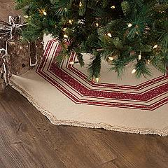 Vintage Burlap Stripe Red Tree Skirt 48