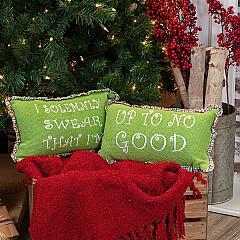 Whimsical Christmas Pillows Up To No Good Set of 2 7x13