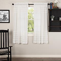 White Ruffled Sheer Petticoat Short Panel Set of 2 63x36