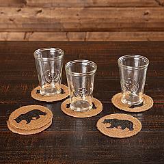 Wyatt Stenciled Bear Jute Coaster Set of 6