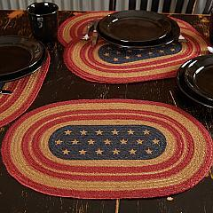 Liberty Stars Flag Jute Placemat Set of 6 12x18