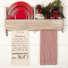 Sawyer Mill Santa Cookies Recipe Unbleached Natural Muslin Tea Towel Set of 2 19x28