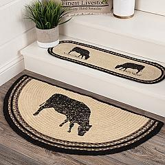 Sawyer Mill Charcoal Cow Jute Rug Half Circle w/ Pad 16.5x33