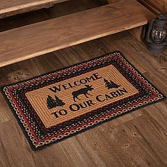 Cumberland Stenciled Moose Jute Rug Rect Welcome to the Cabin w/ Pad 20x30