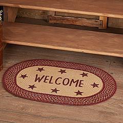 Burgundy Red Primitive Jute Rug Oval Stencil Stars Welcome w/ Pad 20x30