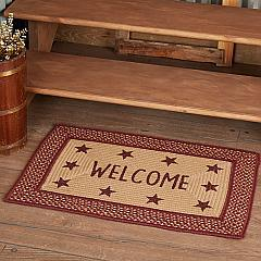 Burgundy Red Primitive Jute Rug Rect Stencil Stars Welcome w/ Pad 20x30