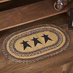 Kettle Grove Jute Rug Oval Stencil Stars w/ Pad 20x30