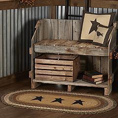 Kettle Grove Jute Rug Oval Stencil Stars w/ Pad 27x48