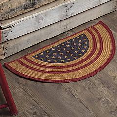 Liberty Stars Flag Jute Rug Half Circle w/ Pad 16.5x33