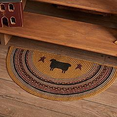 Heritage Farms Sheep Jute Rug Half Circle w/ Pad 16.5x33