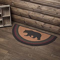 Wyatt Stenciled Bear Jute Rug Half Circle w/ Pad 16.5x33