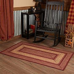Burgundy Red Primitive Jute Rug Rect w/ Pad 36x60