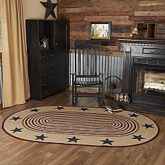 Potomac Jute Rug Oval Stencil Stars w/ Pad 60x96
