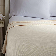 Serenity Creme King Cotton Woven Blanket 90x108