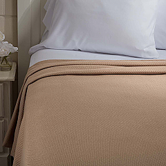 Serenity Tan Twin Cotton Woven Blanket 90x62