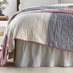 Hatteras Seersucker Blue Ticking Stripe Queen Bed Skirt 60x80x16