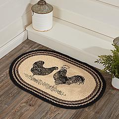 Sawyer Mill Charcoal Poultry Jute Rug Oval w/ Pad 20x30