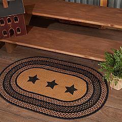 Farmhouse Jute Rug Oval Stencil Stars w/ Pad 24x36