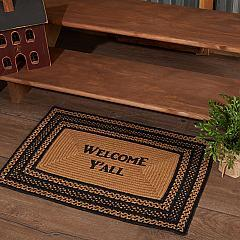 Farmhouse Jute Rug Rect Stencil Welcome Y'all w/ Pad 20x30