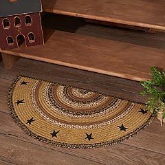 Kettle Grove Jute Rug Half Circle Stencil Stars w/ Pad 16.5x33