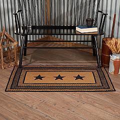 Farmhouse Jute Rug Rect Stencil Stars w/ Pad 27x48