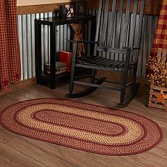 Burgundy Red Primitive Jute Rug Oval w/ Pad 36x60