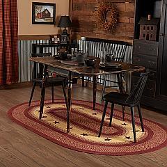 Burgundy Red Primitive Jute Rug Oval Stencil Stars w/ Pad 60x96