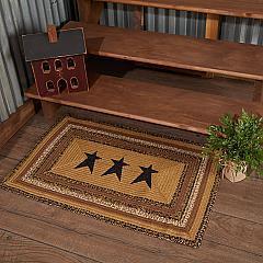 Kettle Grove Jute Rug Rect Stencil Stars w/ Pad 24x36