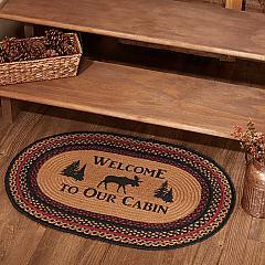 Cumberland Stenciled Moose Jute Rug Oval Welcome to the Cabin w/ Pad 20x30