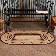 Potomac Jute Rug Oval Stencil Stars w/ Pad 27x48